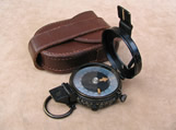 WW2 British Army prismatic marching compass with leather case